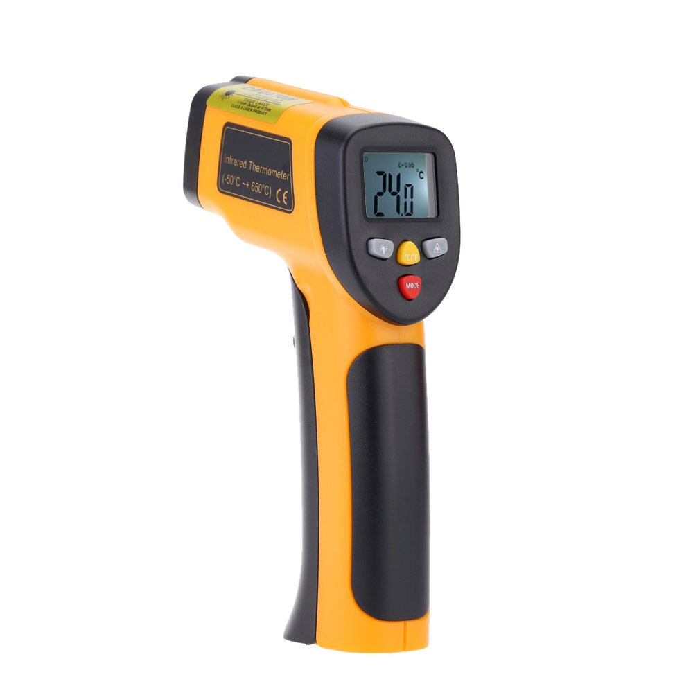 KKmoon Laser Infrarot Thermometer, Pyrometer Temperaturmessgerä t 55~650° C(-58~1202° F),Berü hrungslos Thermometer Digital LCD Beleuchtung,Gelb Schwarz