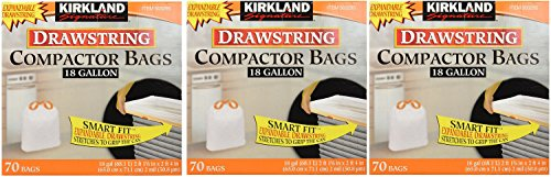 Kirkland Compactor Bags, 18 Gallon CLFAac, 3Pack (70 ct) by Kirkland Signature