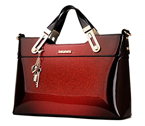 Yan Show Women's Patent Leather Shoulder Bag Pendant Handbag