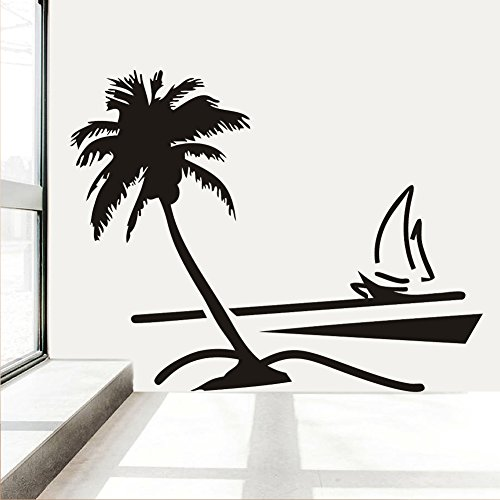 (Fangeplus(TM) DIY Removable Beach Coconut Palm Tree Sailboat Art Mural Vinyl Waterproof Wall Stickers Bed Room Decor Livingroom Decal Sticker Wallpaper)