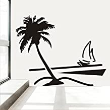 Fange DIY Removable Beach Coconut Palm Tree Sailboat Art Mural Vinyl Waterproof Wall Stickers Bed Room Decor Livingroom Decal Sticker Wallpaper 35''x31''