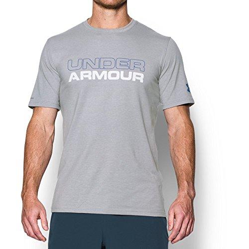 Under Armour Mens Wordmark T-Shirt, True Gray Heather/White, Small