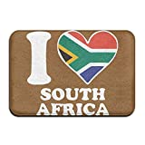 Youbah-01 Indoor/Outdoor Absorbs Mud Doormat With I Love South Africa South African Flag Heart-1 Graphic For Kitchen Dining