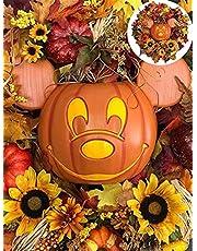 Artificial Pumpkin Berries Maple Leaves Wreath,Mickey Halloween Fall Wreath,Disney Fall Wreath Main Street USA,Autumn Harvest Halloween Wreath,Pumpkin Wreaths for Front Door,Front Door Pumpkin