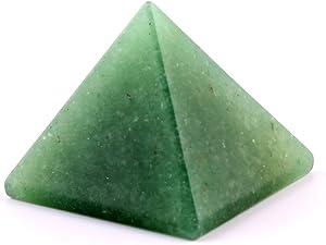 YWG Stone Green Aventurine 1.5inch Natural Pyramid Carved Chakra Healing Crystal Reiki Stone Gemstone Radiation Deflection Home Decor Gift Decoration Crafts (Green Aventurine)