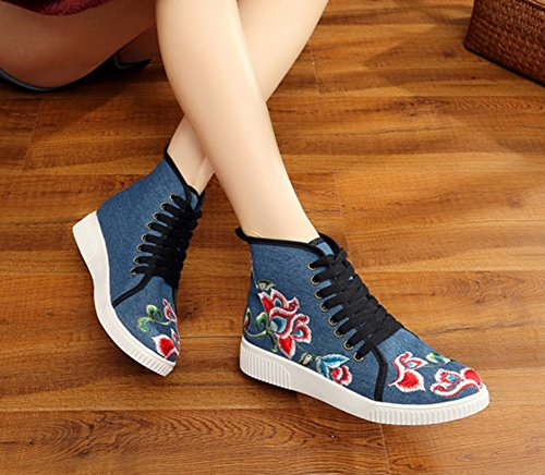 Blue AvaCostume Womens Sneaker Shoes Camellia high Casual Embroidery Ankle Increase ZpzTqwZx4