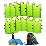 Soccer Cones (Set of 50) and Sports Jerseys Pinnies (12-pack) | Perfect Disc Cones for Basketball Drills, Complete Soccer Training Equipment | Agility...