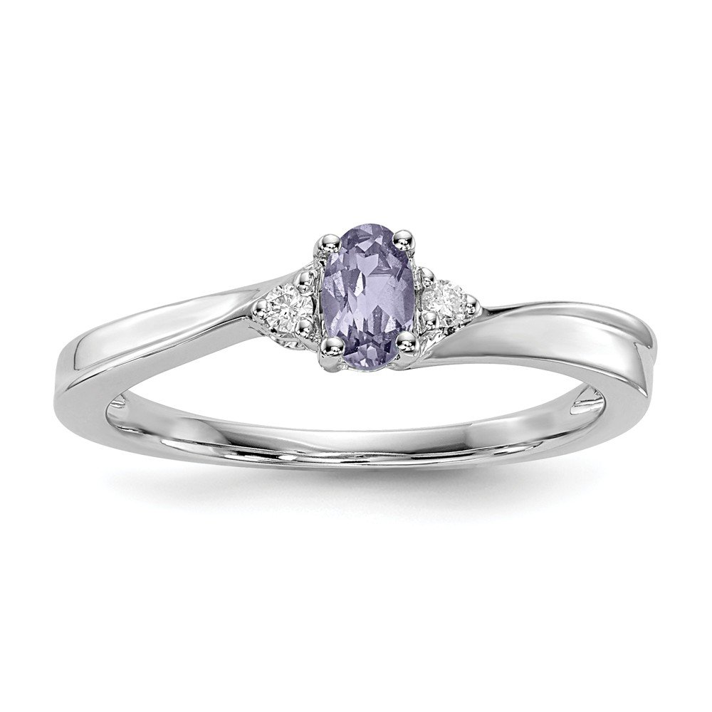 FB Jewels Solid Sterling Silver Rhodium-Plated Created Alexandrite Birthstone Ring Size 7