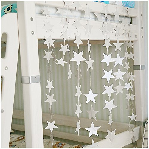 tueselesoleil Twinkle Sparkling Star 4M Star String Paper Garland Hanging Decoration for Wedding Birthday Party Baby Shower Holiday Decoration Table Wall Ceiling Decor (silver) (Sparkling Garland)