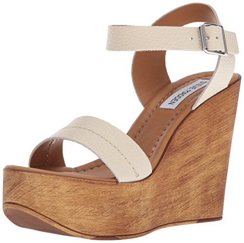 Steve Madden Women's Belma Wedge Sandal, Off-White, 8 M US
