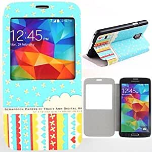 Fashionable Colorful Flowers Pattern PU Leather Full Body Case for Samsung Galaxy S5 I9600 Mobile Case