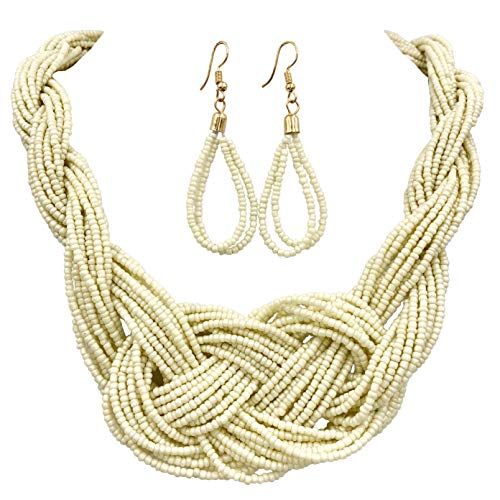 (Gypsy Jewels Multi Row Layered Seed Bead Statement Necklace and Dangle Earring Set (Ivory Cream Knot))