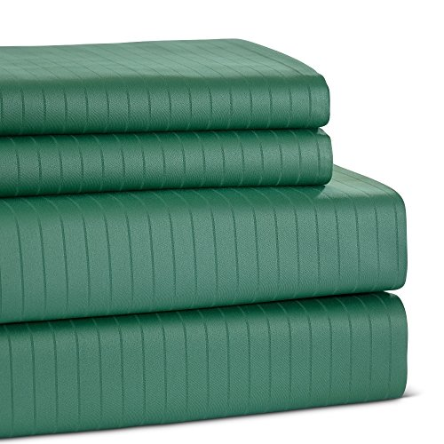Westport Linens 600-thread-count 100-percent Cotton Pinstripe Sheet Set Mint Queen ()