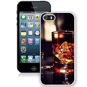 Fashionable Custom Designed iPhone 5S Phone Case With Whiskey Glass Rocks_White Phone Case