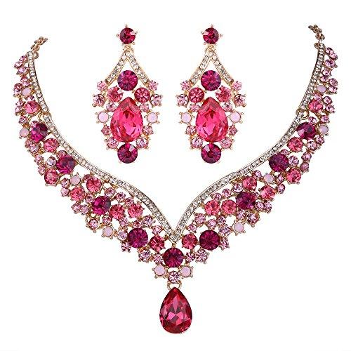 EVER FAITH® österreichischen Kristall V-Form Halskette Ohrring Schmuck Set