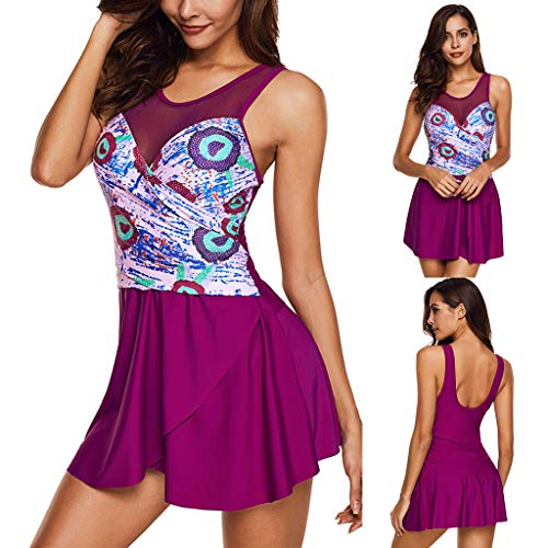 - Tigivemen Women Summer Print Mesh Swimsuit Beachwear Siamese Bikini Bold Art Print Design Sexy Halter Skirt Vest Hot Pink
