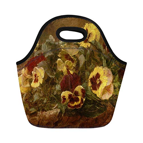 Semtomn Lunch Tote Bag Pansies By Henri Fantin Latour 1903 French Impressionist Painting Reusable Neoprene Insulated Thermal Outdoor Picnic Lunchbox for Men Women