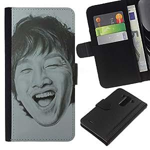 For LG G3 Case , Portrait Man Laughing Teeth - la tarjeta de Crédito Slots PU Funda de cuero Monedero caso cubierta de piel