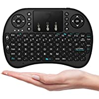 Wechip Mini Wireless Keyboard with Touchpad Mouse,Air Mouse Remote Control for PC, PAD, PS3, Google Android TV Box (2.4GHz Black) (Mini Keyboad)