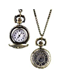 SUPPION Sunflowers Hollow Out Women's Pocket Watch, Bronze Vintage Pendant Watch