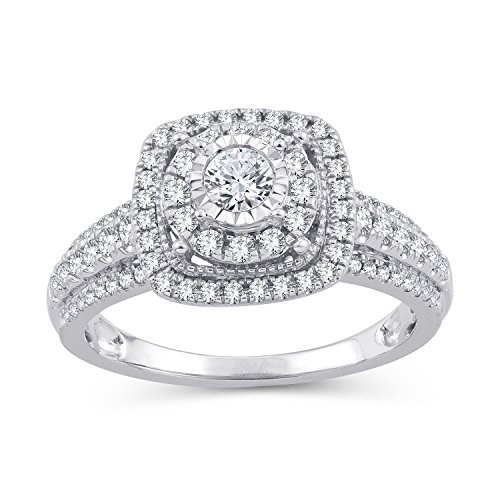 (2/3 Cttw Diamond Double Halo Frame Cathedral Engagement Rings in 10kt White Gold (IJ/I2I3) (6))