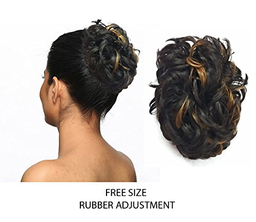 Amazon Women Curly Hair Bride Bun Juda Rubber Free Size Golden