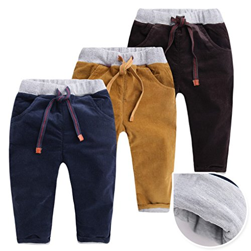 2b4707d18 Happy cherry - Pantalones de Invierno para Niños Bebés Grueso de Pana  Cálidos Pants Kid Winter Chándal Jogger Deportivos - Caqui Azul Marrón -  Talla ES ...