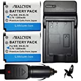 Two Halcyon 1200 mAH Lithium Ion Replacement Battery and Charger Kit for Nikon EN-EL19 and Nikon Coolpix S100, S3100, S4100