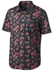 Oakley Mens Breakwall Woven Button Up Short-Sleeve Shirt Medium Dark Blue