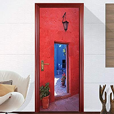 BXZGDJY 3D Puerta Fondo De Pantalla - Puerta Roja Creativa 80X200Cm Puerta De Película De Pvc Extraíble Autoadhesiva Sala De Estar Dormitorio Oficina Para Niños Restaurante Bar Baño Cocina Puerta Art: Amazon.es: