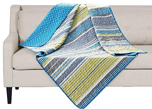 SLPR Day at The Cape Printed Quilted Throw Blanket (50 x 60)   Home Chic Multicolor Decorative Throw for Bed Couch Sofa