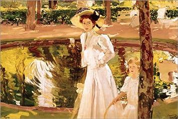 Posterlounge Lienzo 100 x 70 cm: The Garden de Joaquín Sorolla y Bastida/Bridgeman Images - Cuadro Terminado, Cuadro sobre Bastidor, lámina terminada sobre Lienzo auténtico, impresión en Lienzo