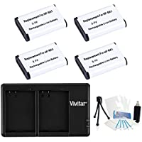 4-Pack NP-BX1 High-Capacity Replacement Battery with Rapid Dual Charger for Select Sony Digital Cameras - UltraPro Bundle Includes: Camera Cleaning Kit, Camera Screen Protector, Mini Travel Tripod