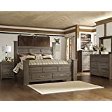 Juararoy Casual Dark Brown Color Replicated rough-sawn oak Bed Room Set, King Poster Storage Bed, Dresser, Mirror, Nightstand