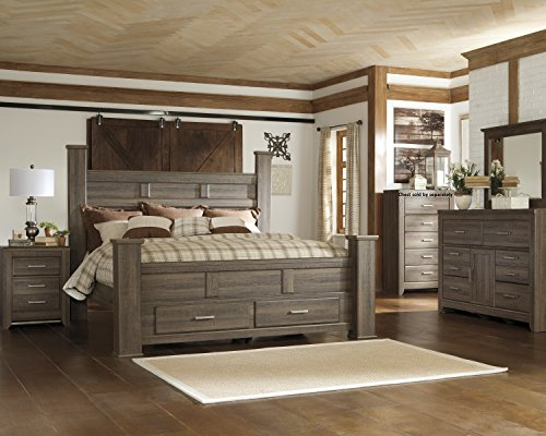 Juararoy Casual Dark Brown Color Replicated rough-sawn oak Bed Room Set, King Poster Storage Bed, Dresser, Mirror, Nightstand (Dark Oak Mirror)