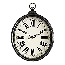 Nclon Vintage Wall Clock,Mute Silent Quiet Imitation Iron American Country Quartz Wall Clock Oval White 32 20 5cm