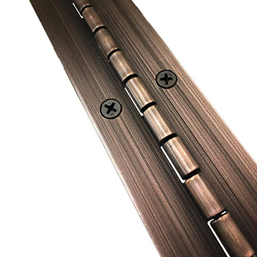 """1-1/2"""" x 72"""" Continuous Piano Hinge - Heavy Duty .060"""" Leaf Thickness - Antique Bronze - Matching #6 x 3/4"""" Screws Included"""