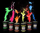 Neon Glow Blacklight Body Paint #1 Premium Set (6 pack of .75 oz. bottles) Glows Brighter, UV Reactive- Safe and Non-Toxic! Fluorescent Set Dries Quickly, Goes on Smooth, Not Clumpy