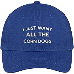 Trendy Apparel Shop I Just Want All The Corn Dogs Embroidered Cap Premium Cotton Dad Hat - Royal