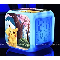 POKEMON PIKACHU Cartoon Games Action Figure 7 Colors Change Digital Alarm LED Clock Cartoon Night Colorful Toys for Kids (Style 16)