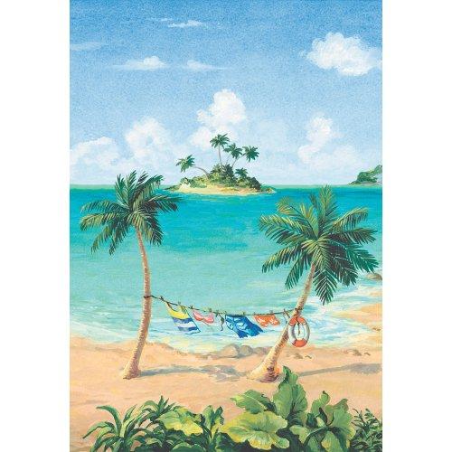 Decorate By Color BC1580708 Brightly Colored Beach Scene Mural, Multicolor (Scene Wallpaper Beach Border)
