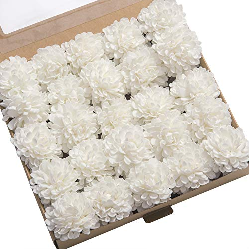 Daisy Rose Wedding Bouquet - Ling's moment 25pcs Off-White Real Looking Fake Dahlia Artificial Flowers w/Stem for DIY Wedding Bouquets Centerpieces Arrangements Party Baby Shower Home Decorations