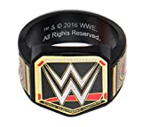 WWE Championship Belt Mens Stainless Steel Black PVD Plated Logo Ring (size 10)