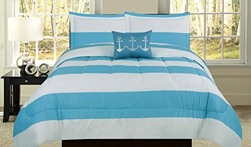 How Plumb Nautical Twin Comforter Blue White Stripe Bedspread Bedding 3 Piece Bed Set Embroidered Anchor Pillow - Embroidered Bed