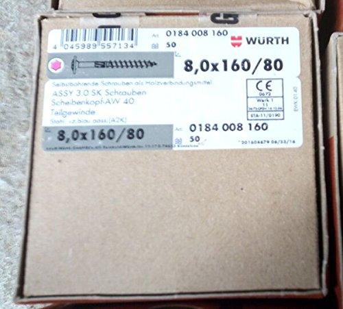 Vis wurth 8x160//80 tete plate large T40 quantit/é 50