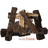 Moda Flame 10 Piece Large Ceramic Wood Set of Fireplace Logs For All Types of Ventless, Vent-Free, Propane, Gas, Gas Inserts, Gel, Ethanol, Electric, Indoor, Outdoor Fireplaces and Fire Pits