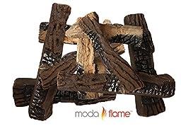 Moda Flame Set of 10 Ceramic Wood Fireplace Logs