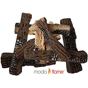 Amazon.com: Moda Flame 9 Piece Ceramic Wood Set of Fireplace Logs ...