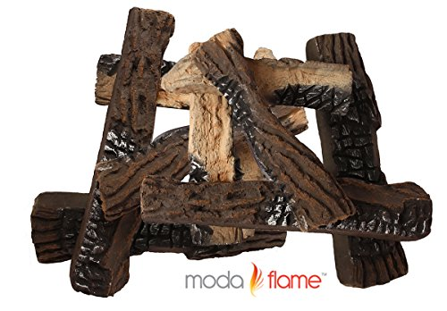 Two Moda Light - Moda Flame Set of 10 Ceramic Wood Fireplace Logs