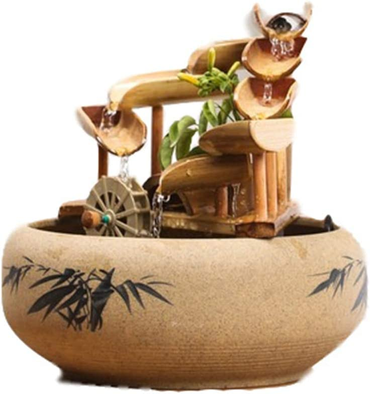 DQM Fuente de Agua Acentos de bambú para Patio, Fuente de